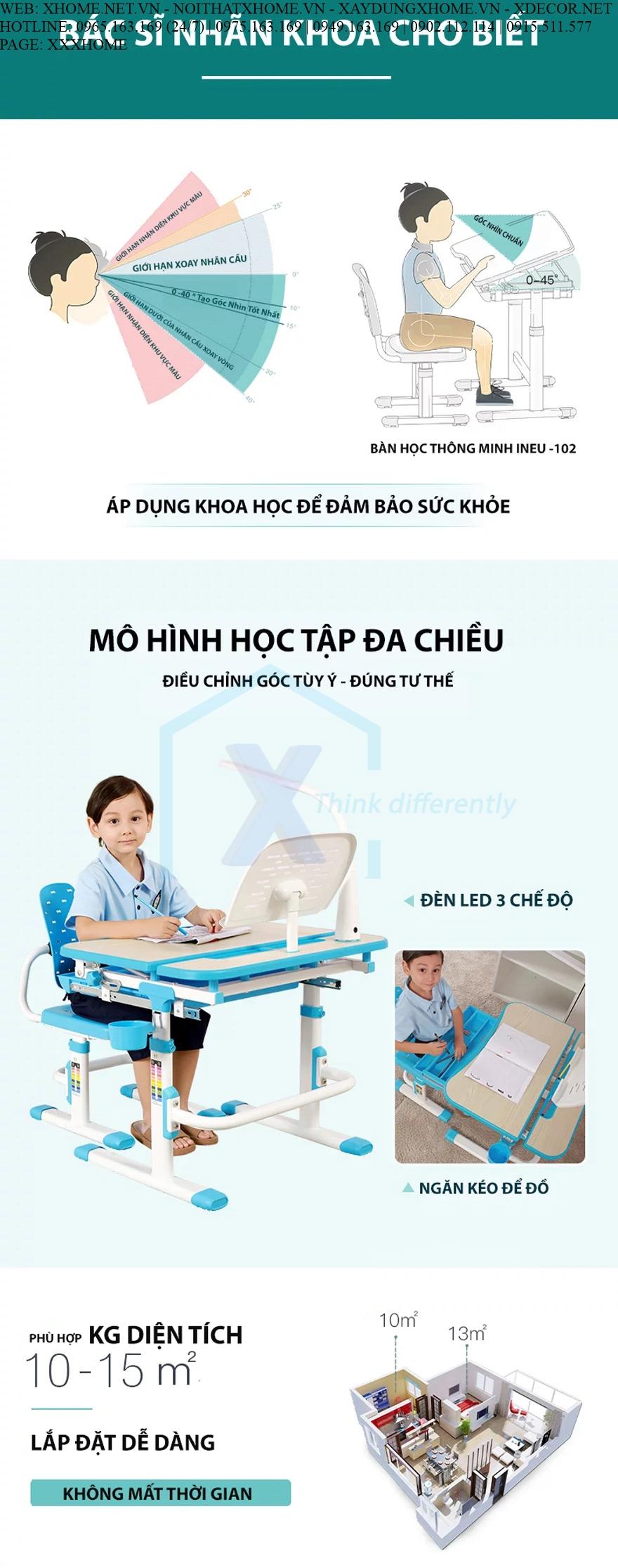 BỘ BÀN HỌC THÔNG MINH NÂNG HẠ CHIỀU CAO CHO BÉ XHOME9999