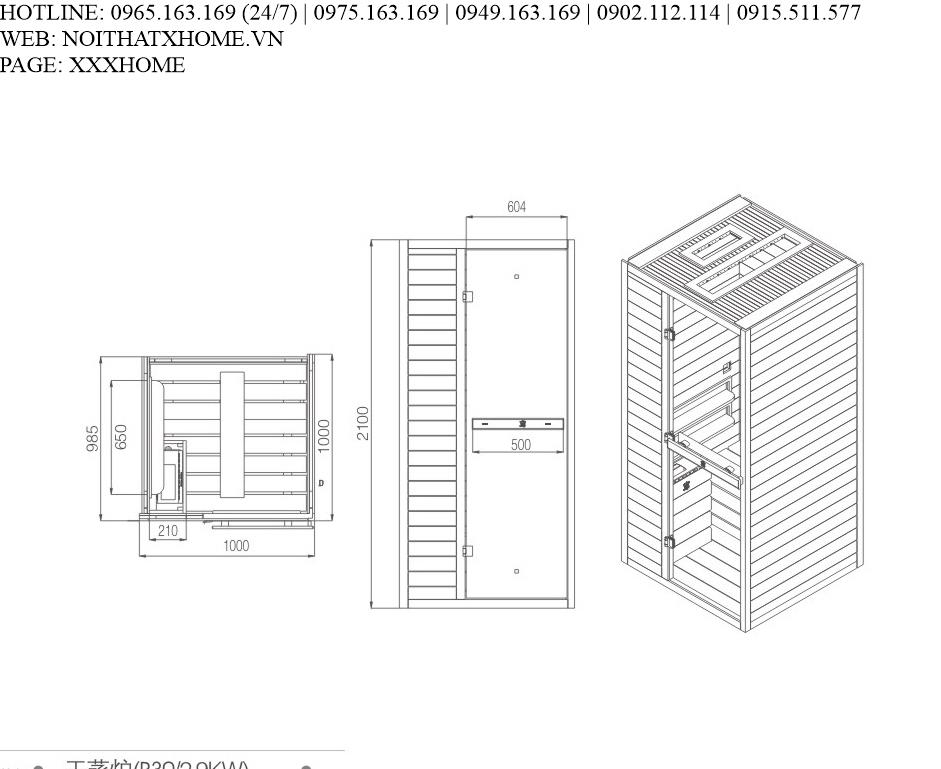 Cabin xông hơi khô CRW - AL0013 X HOME Hà Nội