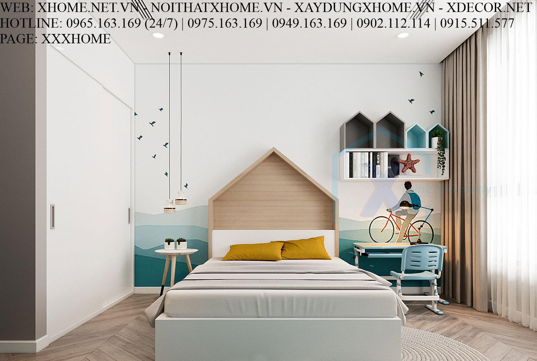 X HOME THIẾT KẾ NỘI THẤT PHÒNG NGỦ TRẺ EM CHUNG CƯ PARK HILL TIMES CITY