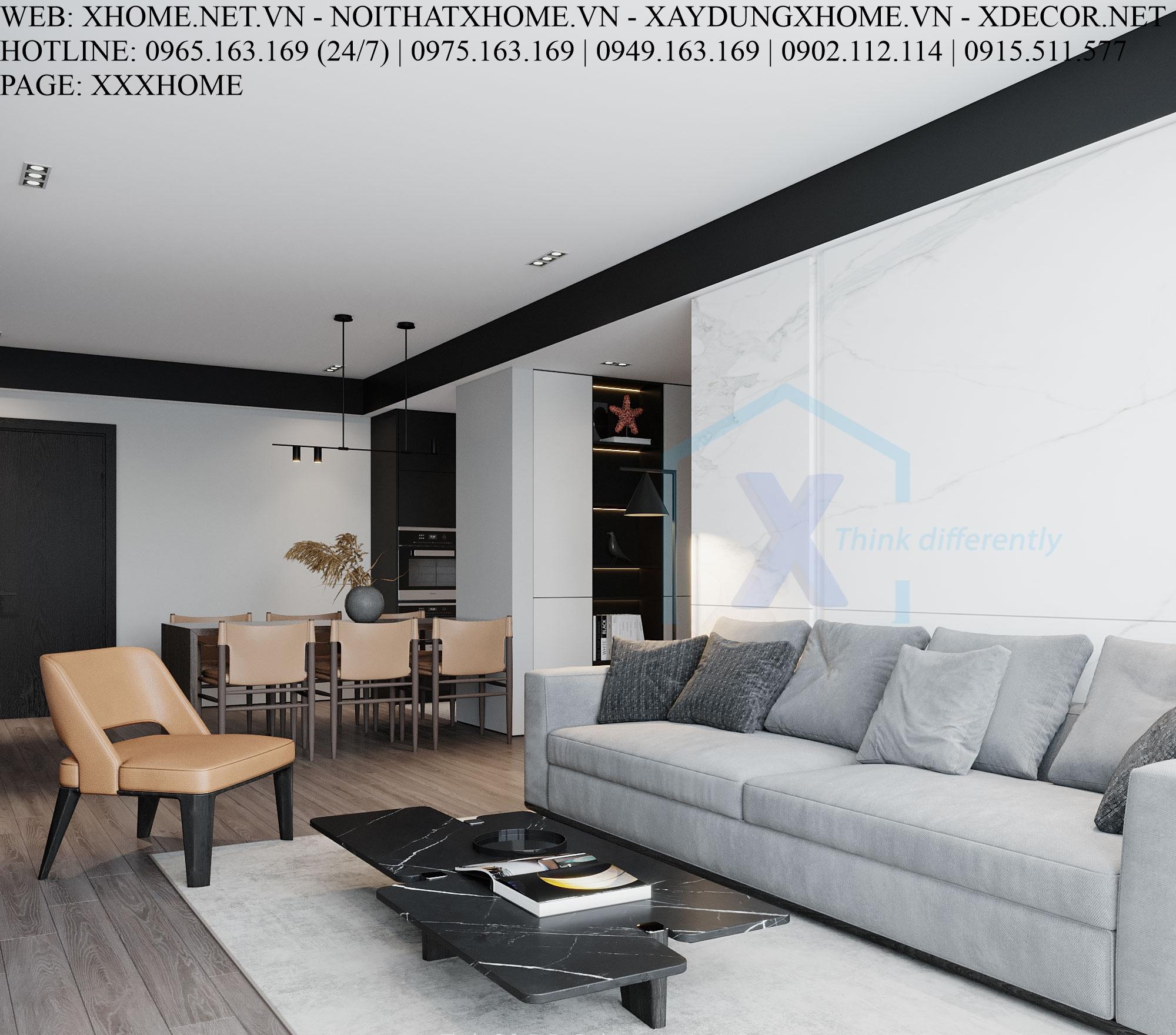 X HOME THIẾT KẾ CĂN HỘ CHUNG CƯ BOHEMIA RESIDENCE 135 M2