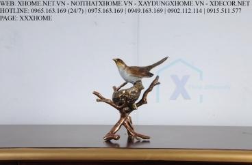 Decor bằng đồng X HOME Hà Nội Hồ Chí Minh Chim và tổ bằng đồng