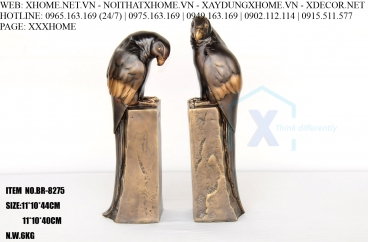 Decor bằng đồng X HOME Hà Nội Hồ Chí Minh Cặp vẹt bằng đồng BR-8275