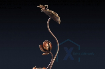 Decor bằng đồng X HOME Hà Nội Hồ Chí Minh Tượng đồng hoa sen BLN-6650B