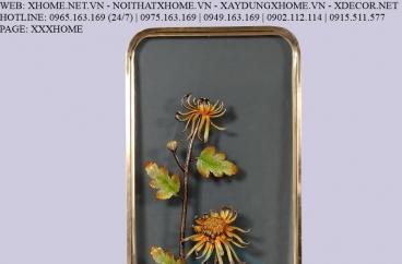 Decor bằng đồng X HOME Hà Nội Hồ Chí Minh Khung tranh hoa bằng đồng BFR-6636