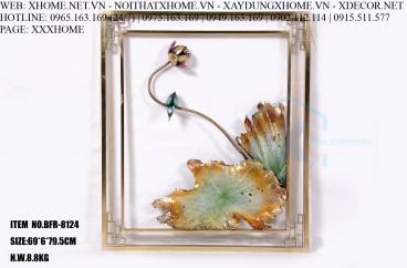 Decor bằng đồng X HOME Hà Nội Hồ Chí Minh Khung tranh hoa bằng đồng BFR-8124