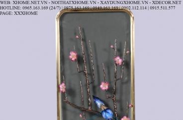 Decor bằng đồng X HOME Hà Nội Hồ Chí Minh Khung tranh đồng hoa đào BFR-6647