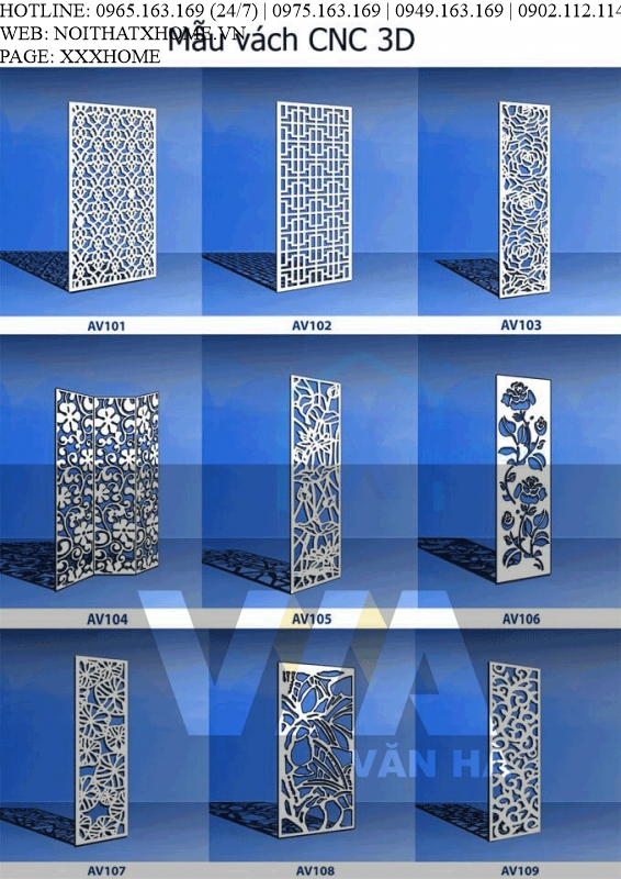 Mẫu vách hoa văn CNC 3D giá rẻ X HOME Hà Nội
